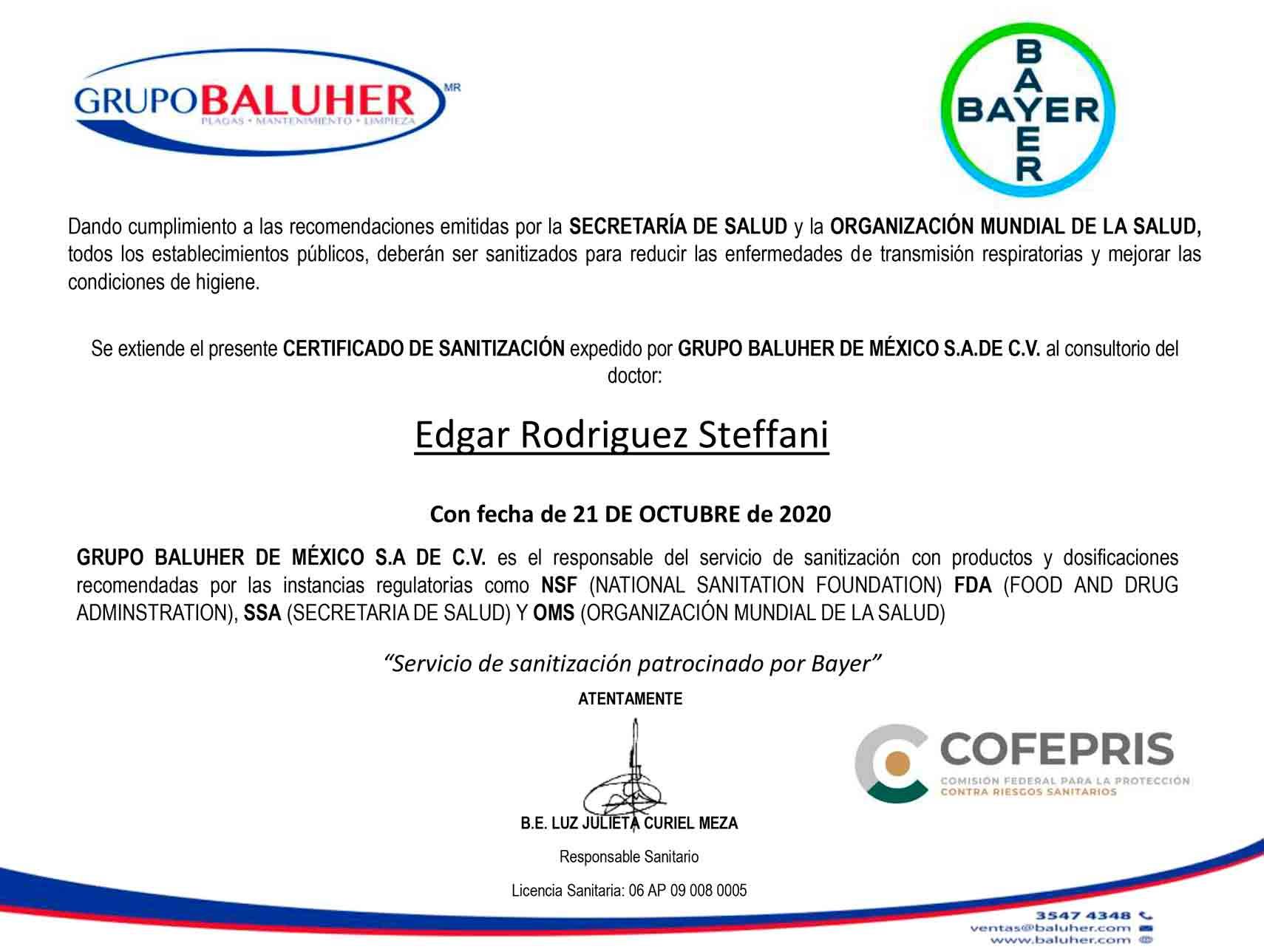 Certificado de Sanitazación